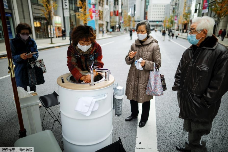 助力防疫 移动式洗手机亮相日本东京街头