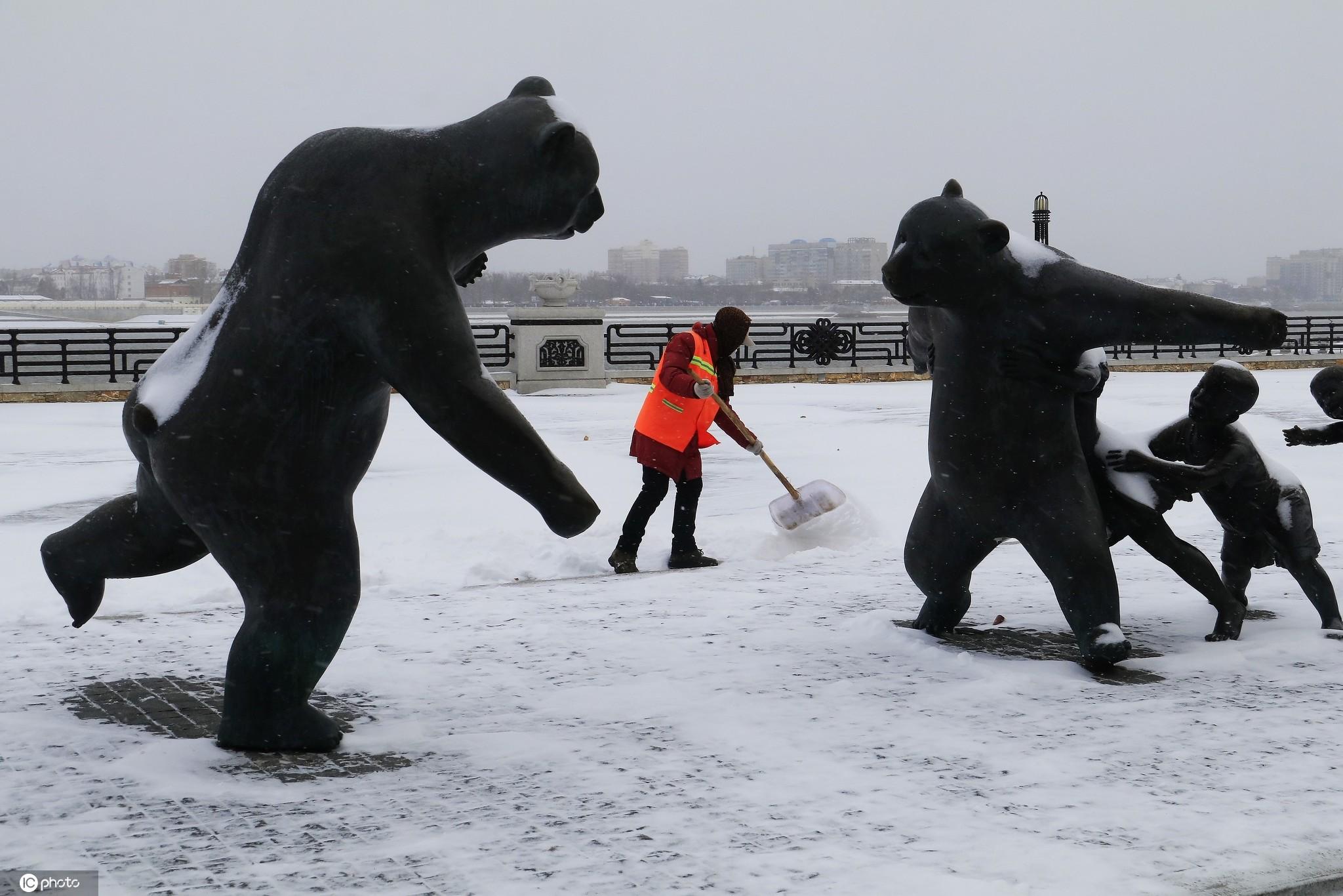 东北边城黑河迎来2020年第一场雪 快来感受一下冬天的味道