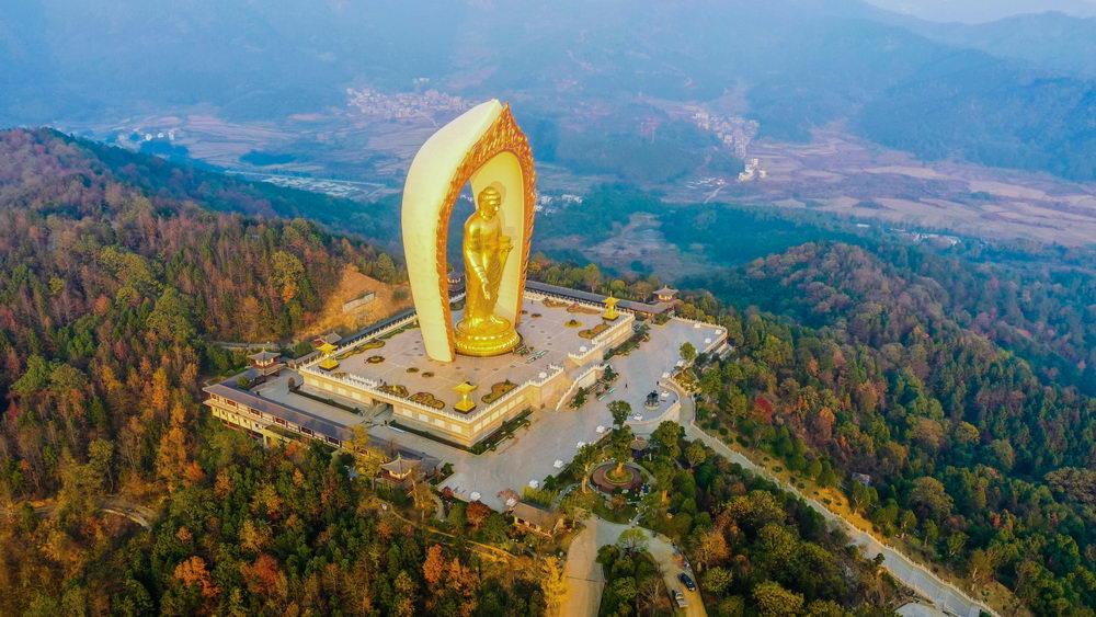 实拍东林大佛,中国及全球第一高阿弥陀佛像