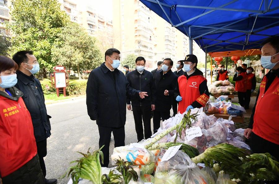 习近平深入武汉社区现场照片