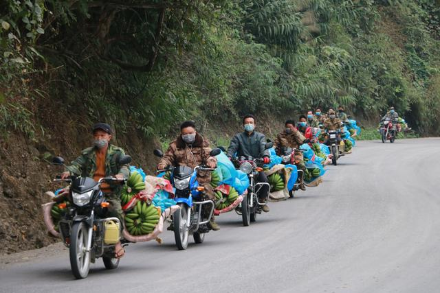 云南河口脱贫村民向湖北赠22吨香蕉,30辆摩托车运出村